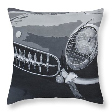 Throw Pillow featuring the painting Chevrolet Corvette 1954 by Anna Ruzsan