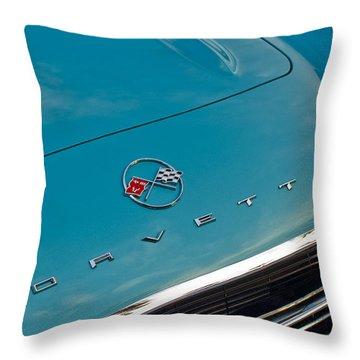 Chevrolet Corvette Hood Emblem 2 Throw Pillow by Jill Reger
