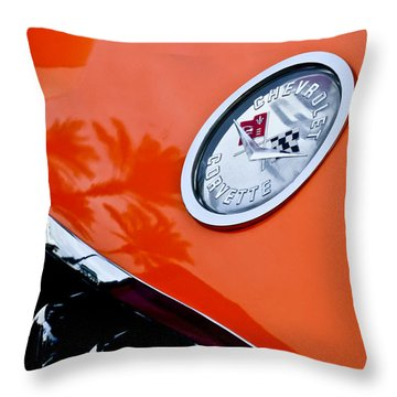 Chevrolet Corvette Hood Emblem Throw Pillow by Jill Reger