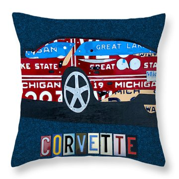 Chevrolet Corvette Recycled Michigan License Plate Art Throw Pillow by Design Turnpike