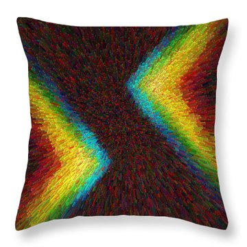 Throw Pillow featuring the photograph Chevron Double Rainbow C2014 by Paul Ashby