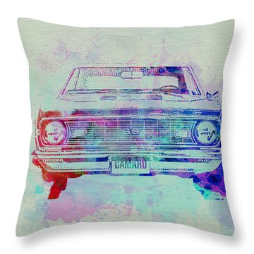 Chevy Camaro Watercolor 2 Throw Pillow by Naxart Studio