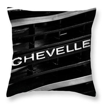 Chevy Chevelle Grill Emblem Black And White Picture Throw Pillow by Paul Velgos