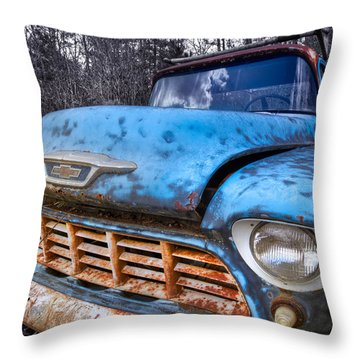 Chevy In The Woods Throw Pillow by Debra and Dave Vanderlaan