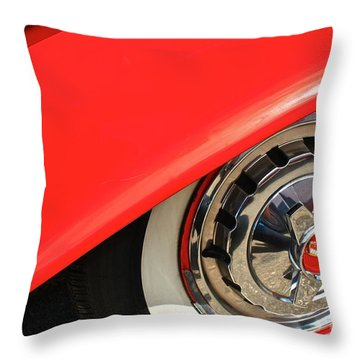 Throw Pillow featuring the photograph 1955 Chevy Rim by Linda Bianic