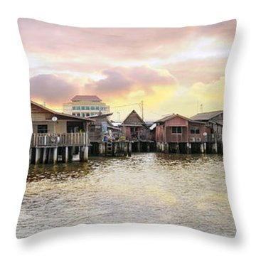 Chew Jetty Heritage Site In Penang Throw Pillow