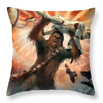 Chewbacca - Star Wars The Card Game Throw Pillow