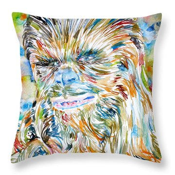 Chewbacca Watercolor Portrait Throw Pillow
