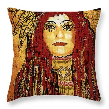 Cheyenne Woman Warrior Throw Pillow by Pepita Selles