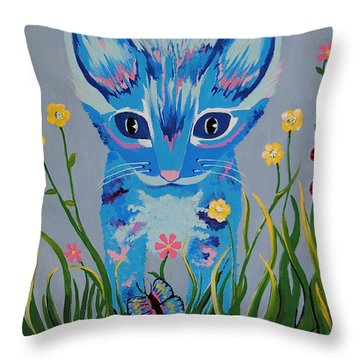 Throw Pillow featuring the painting Chibi by Kathleen Sartoris