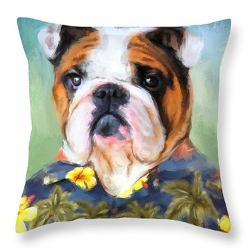Chic English Bulldog Throw Pillow