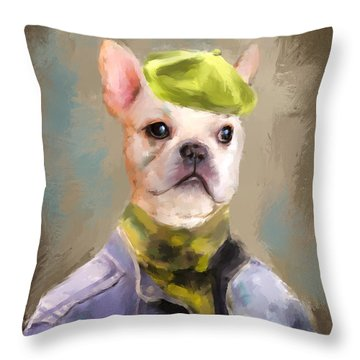 Chic French Bulldog Throw Pillow