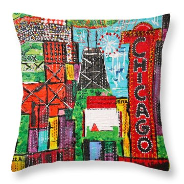 Chicago - City Of Fun - Sold Throw Pillow