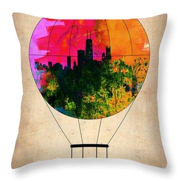Chicago Air Balloon Throw Pillow by Naxart Studio