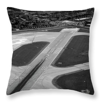 Chicago Airplanes 04 Black And White Throw Pillow by Thomas Woolworth