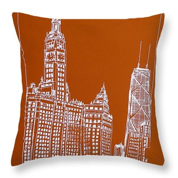 Chicago Architecture. Wrigley And Hancock Bldgs Throw Pillow