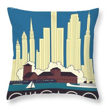 Chicago Art Deco Skyline Throw Pillow by Josef Spalenka