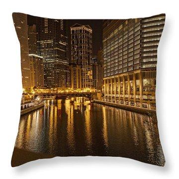 Chicago At Night Throw Pillow by Daniel Sheldon