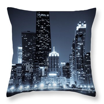 Chicago At Night With Hancock Building Throw Pillow by Paul Velgos