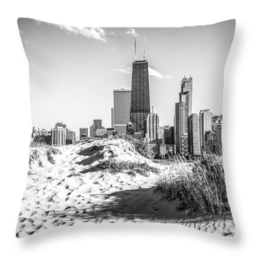 Chicago Beach And Skyline Black And White Photo Throw Pillow by Paul Velgos