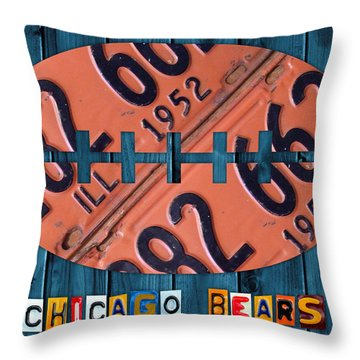 Chicago Bears Football Recycled License Plate Art Throw Pillow by Design Turnpike