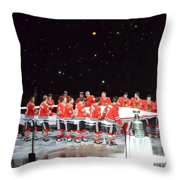 Throw Pillow featuring the photograph Chicago Blackhawks And The Banner by Melissa Goodrich
