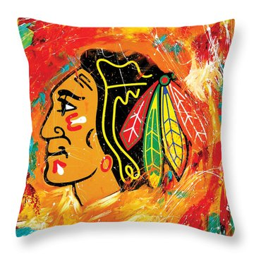 Chicago Blackhawks Logo Throw Pillow