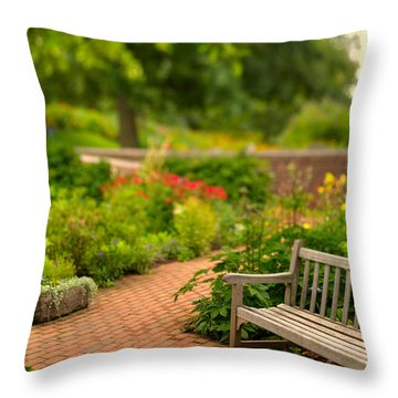 Chicago Botanic Garden Bench Throw Pillow