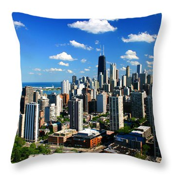Chicago Buildings Skyline Clouds Throw Pillow