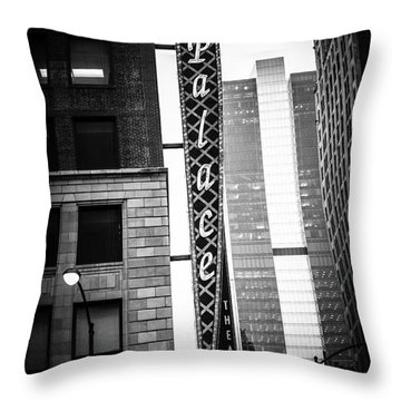Chicago Cadillac Palace Theatre Sign In Black And White Throw Pillow by Paul Velgos