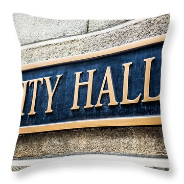 Chicago City Hall Sign Throw Pillow by Paul Velgos