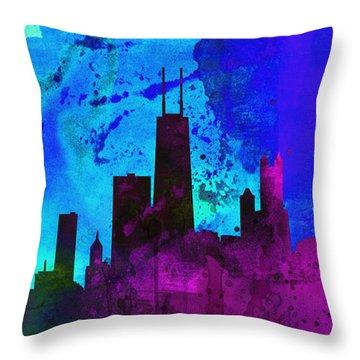 Chicago City Skyline Throw Pillow by Naxart Studio