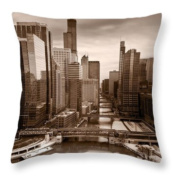 Chicago City View Afternoon B And W Throw Pillow by Steve Gadomski