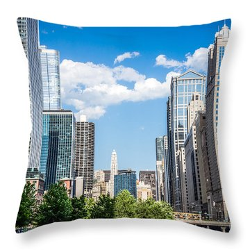 Chicago Cityscape Downtown Buildings Throw Pillow by Paul Velgos
