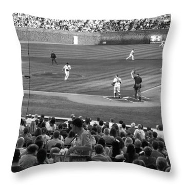 Chicago Cubs On The Defense Throw Pillow by Thomas Woolworth
