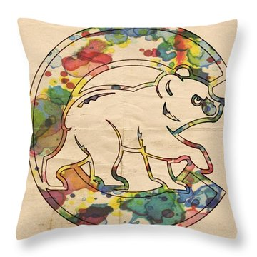 Chicago Cubs Poster Throw Pillow