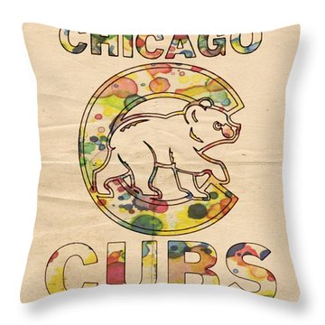 Chicago Cubs Vintage Poster Throw Pillow