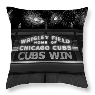 Chicago Cubs Win Fireworks Night B W Throw Pillow