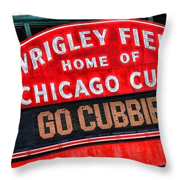 Chicago Cubs Wrigley Field Throw Pillow by Christopher Arndt
