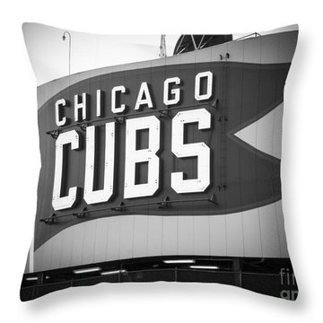 Chicago Cubs Wrigley Field Sign Black And White Picture Throw Pillow by Paul Velgos
