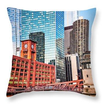 Chicago Downtown At Lasalle Street Bridge Throw Pillow by Paul Velgos