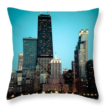 Chicago Downtown At Night With Hancock Building Throw Pillow