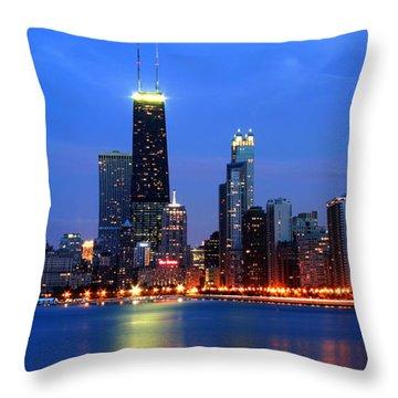 Chicago Dusk Skyline Hancock Throw Pillow