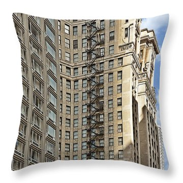 Chicago - Emergency Fire Escape Throw Pillow by Christine Till