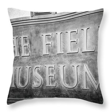 Chicago Field Museum Sign In Black And White Throw Pillow by Paul Velgos