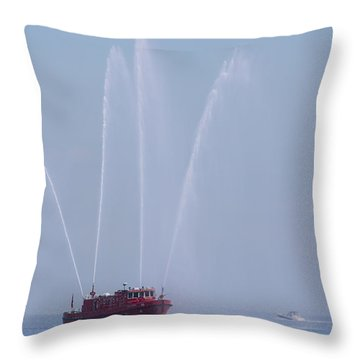 Chicago Fireboat Throw Pillow by Adam Romanowicz