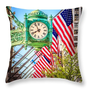 Chicago Great Clock On Macys Building Throw Pillow by Paul Velgos