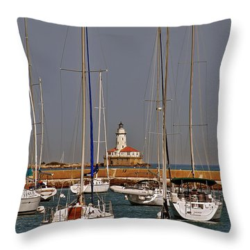 Chicago Harbor Lighthouse Illinois Throw Pillow by Christine Till