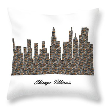 Chicago Illinois 3d Stone Wall Skyline Throw Pillow