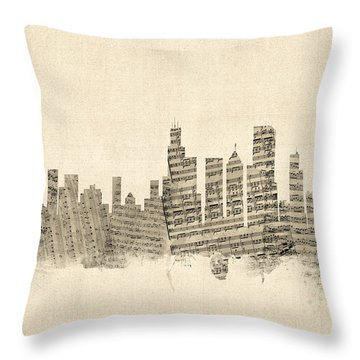 Chicago Illinois Skyline Sheet Music Cityscape Throw Pillow by Michael Tompsett